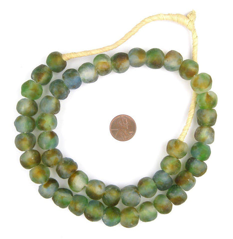 Image of Blue/Green/Brown Swirl Recycled Glass Beads (14mm) - The Bead Chest