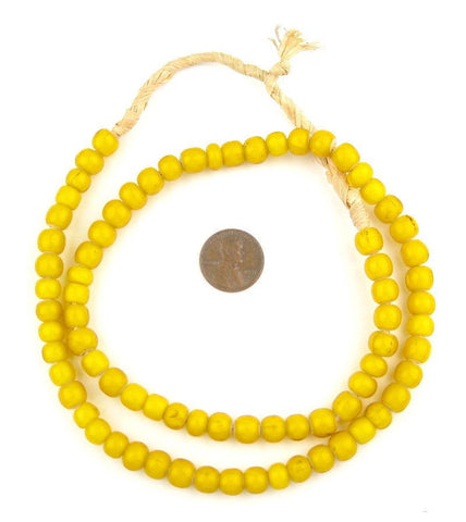 Yellow White Heart Beads (8mm) - The Bead Chest