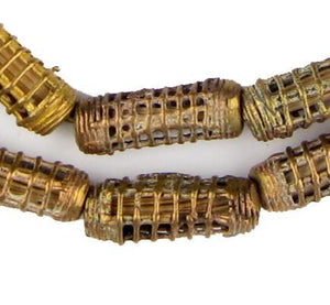 Caged Cylinder Ghana Brass Filigree Beads (30x10mm) - The Bead Chest