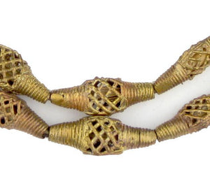 Flat Bicone Woven Brass Filigree Beads (25x11mm) - The Bead Chest