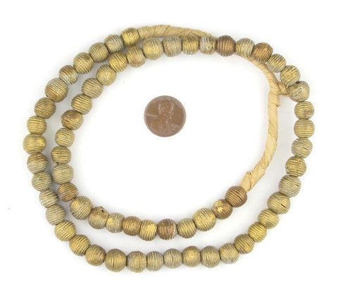 Wound Round Mini Ghana Brass Beads (9mm) - The Bead Chest