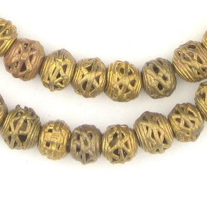 Criss Cross Brass Filigree Mini-Globe Beads (9mm) - The Bead Chest