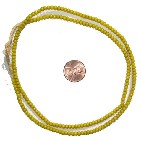 Yellow White Heart Beads (3mm) - The Bead Chest