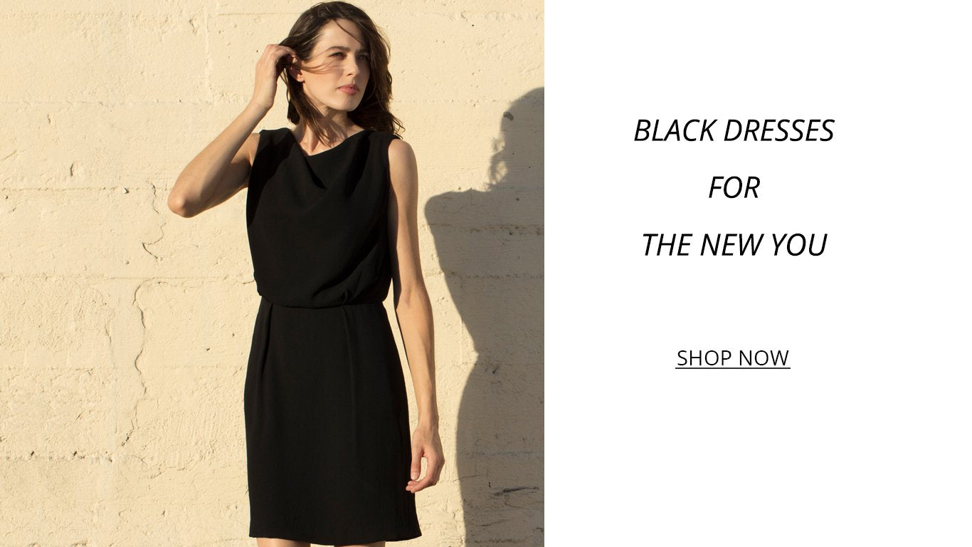 black dress spring 2018 lbd drape neck pockets