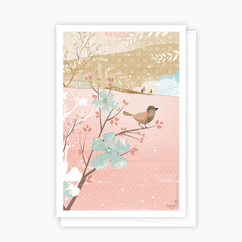 A bird on a branch Pink Card