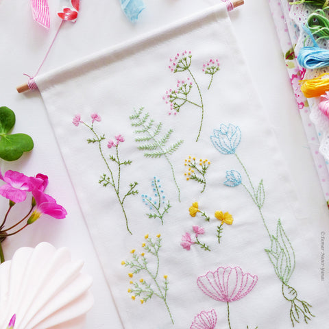 Botanical Flowers banner flag embroidery kit
