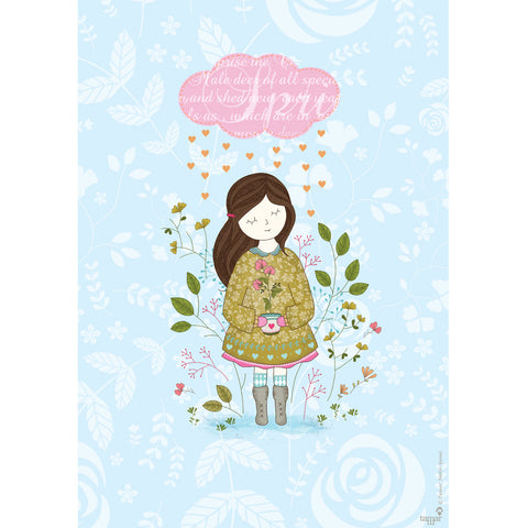 Cloud Raining Hearts print wall art