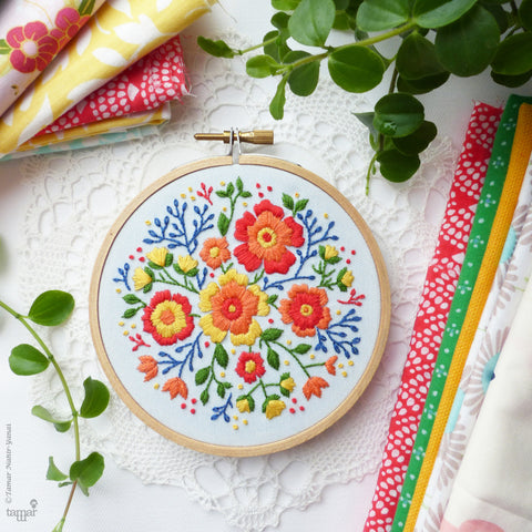 "Colorful Flowers - 4"" embroidery kit"