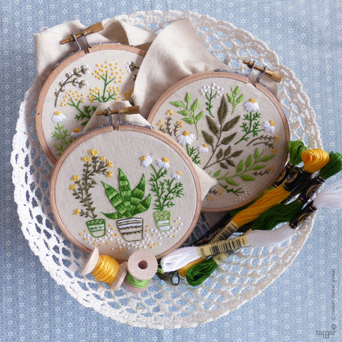 Discounted Bundle of 3 Embroidery Kits, Embroidery designs - 'Green Leaves', 'Houseplants' Green Garden'