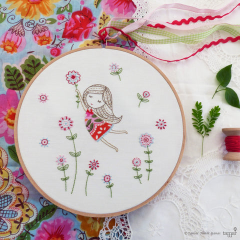 Girl in a Red Dress embroidery kit