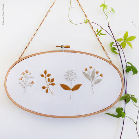 "Gold & Gray Blossom - 11.8x8"" embroidery kit"