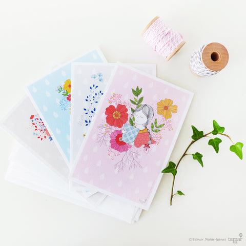 Illustrated Ladies series - Complete set of 4 cards