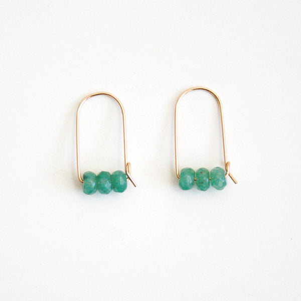 Small Mountain Hoop Earrings - Green Aventurine