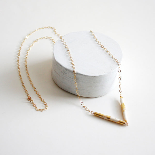 Gold Leaf Long Necklace - Double Tubes