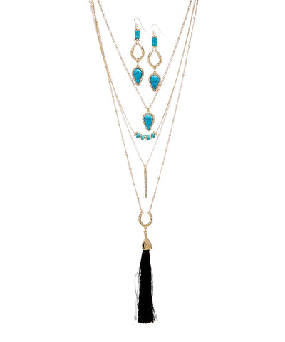 Turquoise Earring & Multi Layer Necklace Set