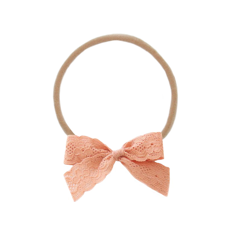 Salmon Pink Lace Vintage Bow