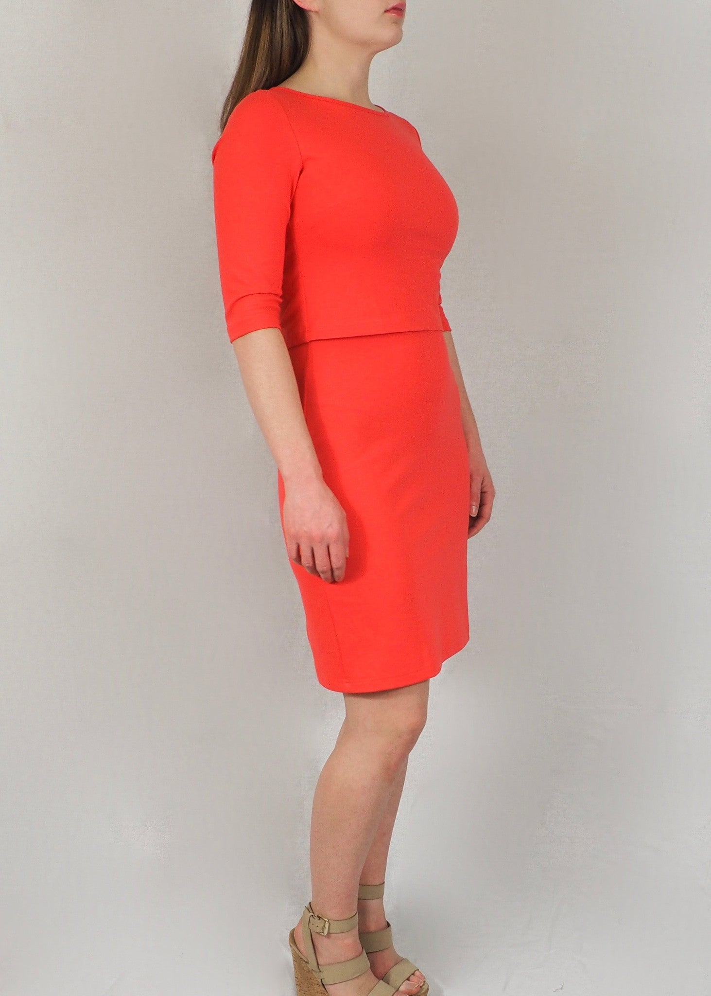 The Breastfeeding Dress - Coral