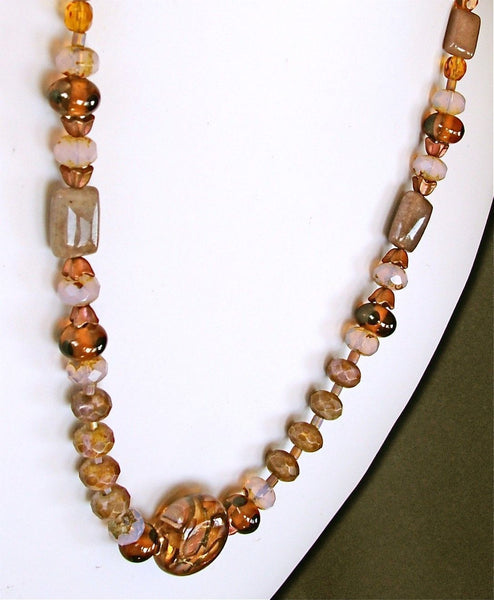 "Amber Wave: 21"" Charoite Stone Necklace in Amber and Mauve"
