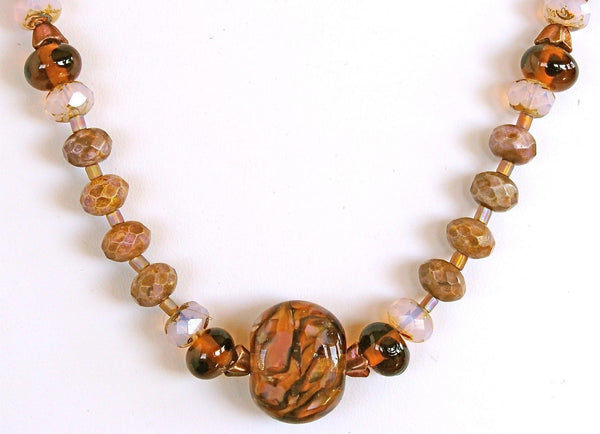 Amber Wave: 21 inch Natural Charoite Gemstone Necklace