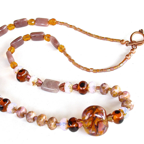 Aubergine and Amber Charoite Stone Necklace