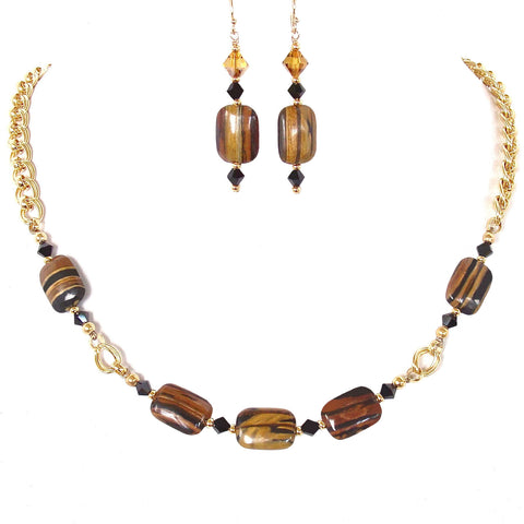 Gold Choker Necklace with Brown Gemstones