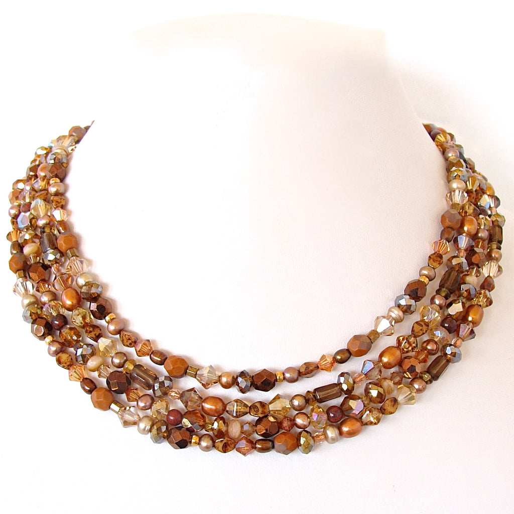 Long Crystal Beaded Necklace