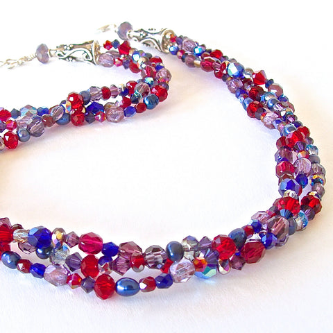 "Jingle: 18"" Ruby Red Sapphire and Blue Necklace"