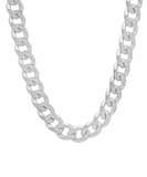 "8mm Thick Silver Curb Chain Bracelet + 18"" Necklace Set Sterling 925"