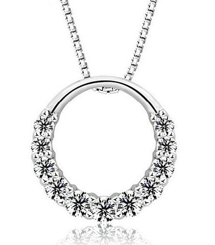 Designer Inspired Simulated Diamond Open Ring Pendant Necklace Silver 925 Italy Stamped - Designer Inspired Co -