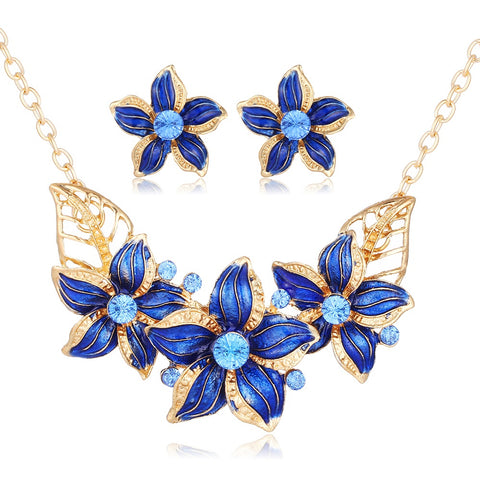 African Gold Enamel Statement Flower Necklace and Earrings Set