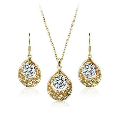 Designer Inspired Hollow Tear Drop Swarovski Elements Necklace and Earrings Set - Designer Inspired Co - Gold + Clear Crystal - 1