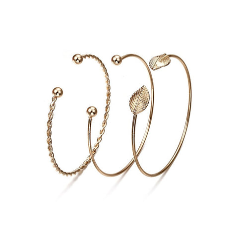 Gold Cuff Spiral Wire Adjustable Bangles 3 Piece Set