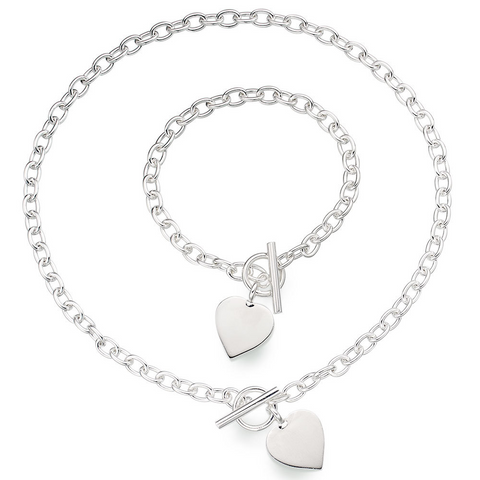 Heart Pendant Necklace and Bracelet Set Sterling Silver 925