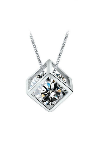 Designer Inspired Simulated Diamond Love Pendant Necklace Sterling Silver 925 - Style 3 - Designer Inspired Co -  - 1