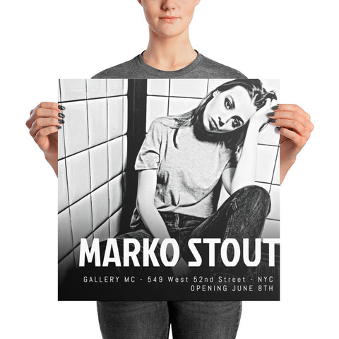 "Official Exhibition Poster: Marko Stout at Gallery MC 2018 (""Black & White No. 23"")"