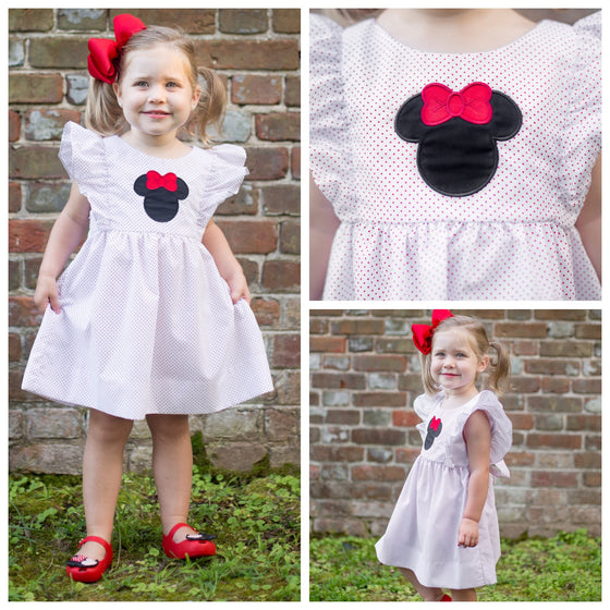 Girls Minnie Mouse Applique Dress Mouse Ears Polka Dots Pinafore Style Disney Dress