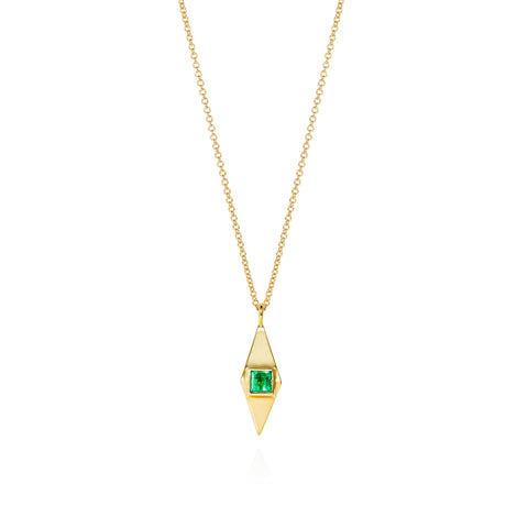Emerald & Gold Pyramid Necklace