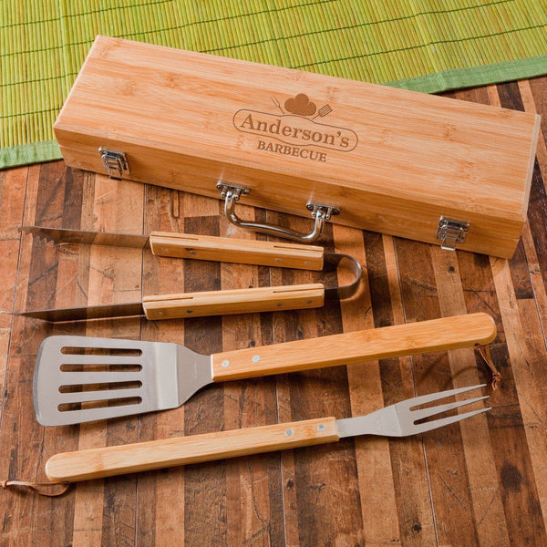 Monogrammed BBQ Grilling Set with Bamboo Case