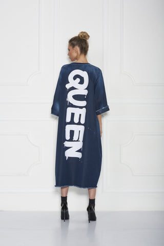 Bimo Queen Denim Oversize Pullover Dress w/Screen Print