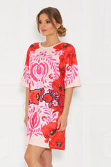 Galla Matyo Elbow Sleeve Printed Tunic Short Dress - Sugarbird - Dress - TOPGEARNY