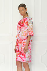 Galla Rose Elbow Sleeve Printed Tunic Dress - Sugarbird - Dress - TOPGEARNY
