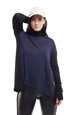Bi Colored Turtleneck Sweater