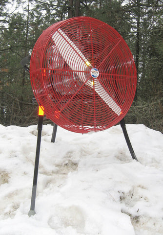 24-inch VENTRY PPV Fan standing in snow, ready to blow