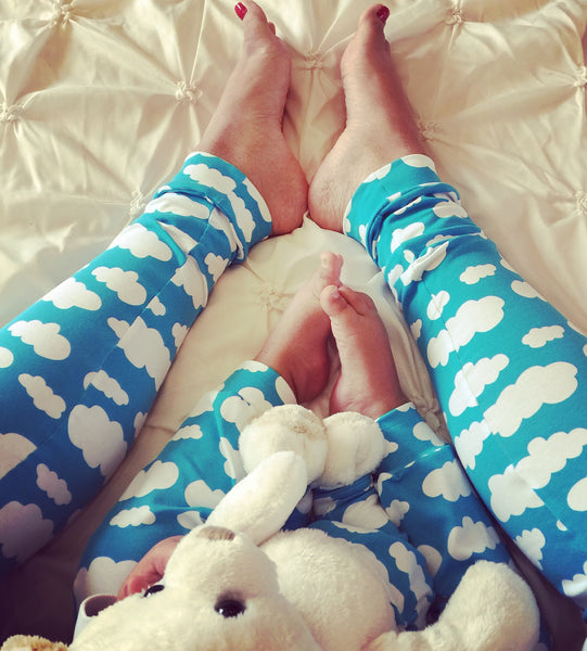 Over the Bump Maternity Baby Brain Blue Cloud Leggings