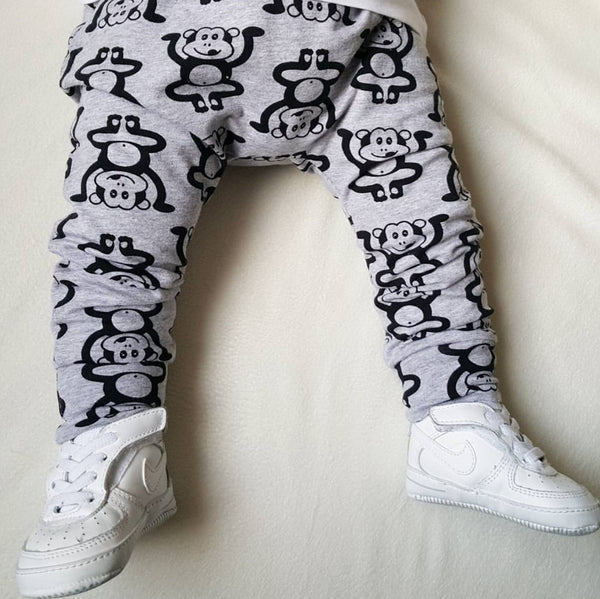 Grey Marvin the Cheeky Monkey Baby & Toddler Leggings