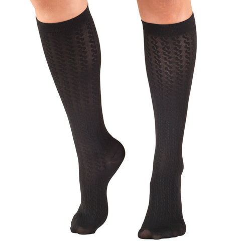 Socks, Moderate Compression, cable pattern - TruForm Leg Health Brand