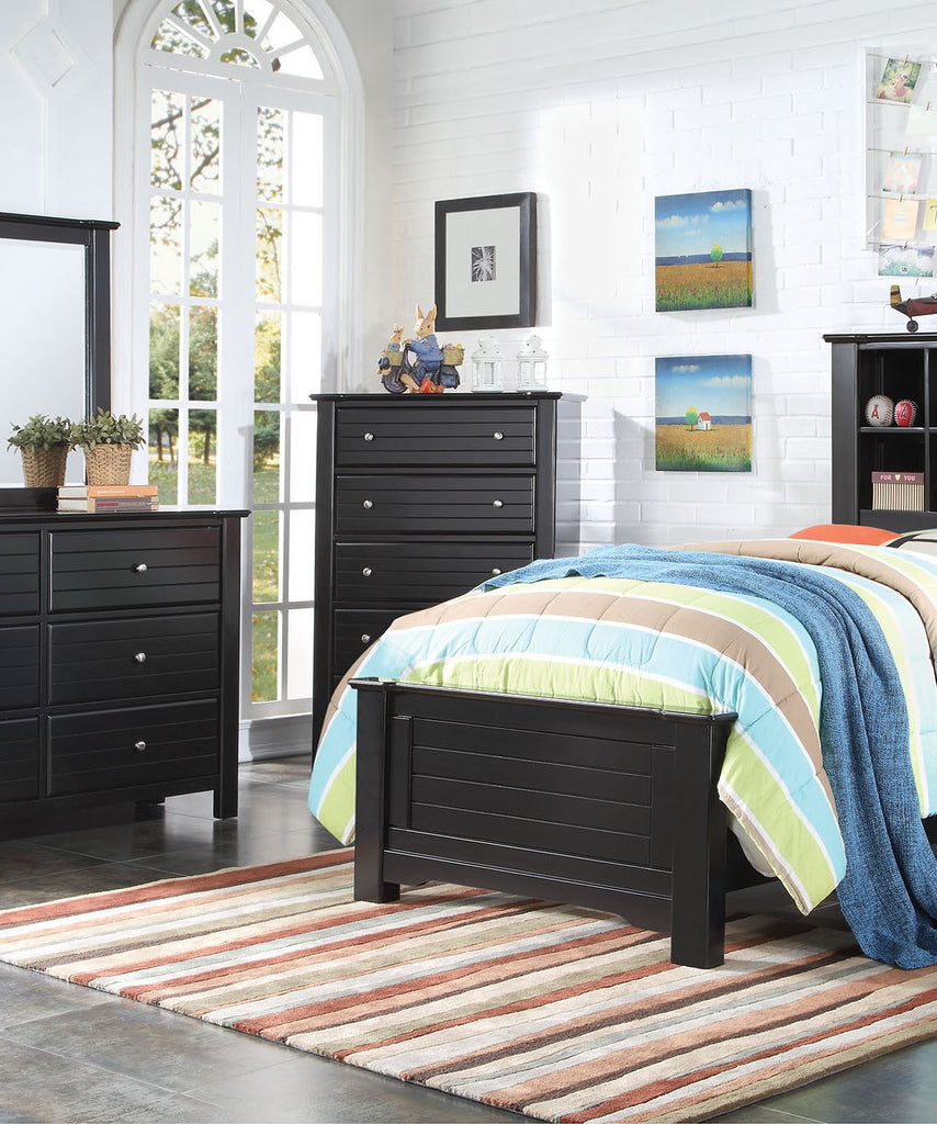 AC30396 MALLOWSEA BLACK 5-DRAWER CHEST