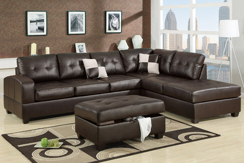 AC15900 ROBYN CHOCOLATE MICROFIBER REVERSIBLE SECTIONAL SOFA CHAISE