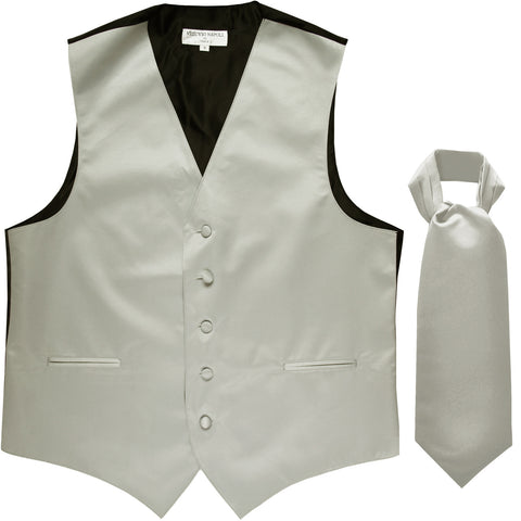 New Men's Formal Tuxedo Vest Waistcoat solid & Ascot cravat Prom silver