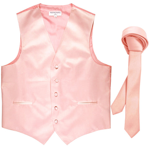 "New Men's Formal Tuxedo Vest Waistcoat_1.5"" skinny Necktie wedding prom pink"